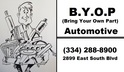 BYOP Automotive - Bring Your Own Parts Mechanic - Montgomery, AL