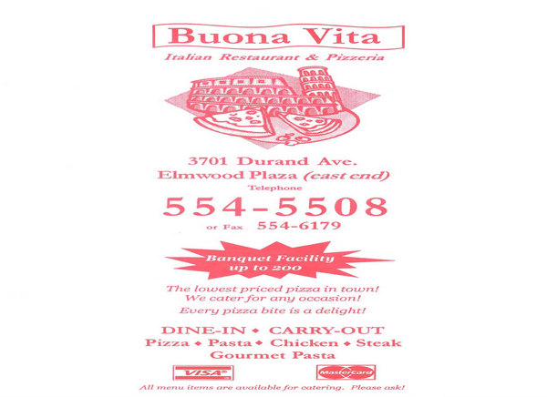 Buona vita italian restaurant pizzeria in racine wi for The local italian menu