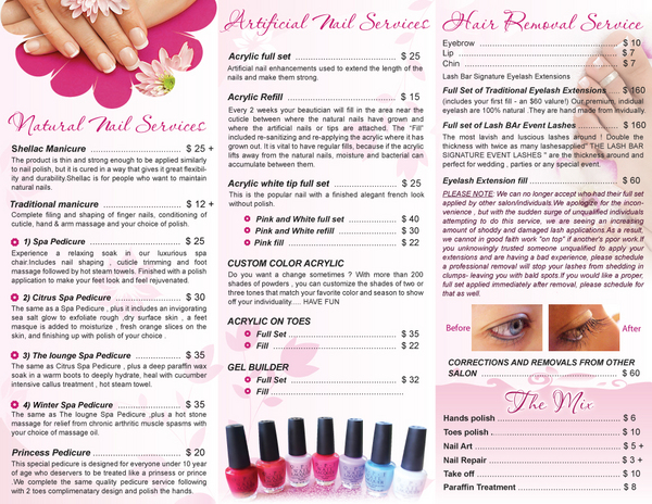 Nail salon brochure car interior design for About salon services