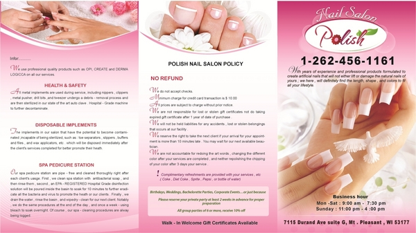 Polish nail salon in mount pleasant wi relylocal for Nail salon brochure