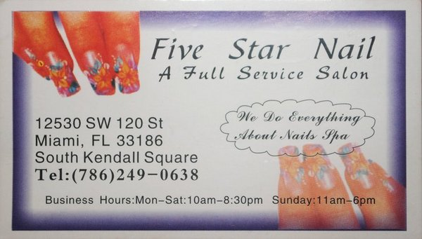 Five stars nail salon in miami florida relylocal thumbdarkcolors thumbinside thumbinterior thumbnewchairs thumbspringcolors thumbbusinesscard reheart Choice Image