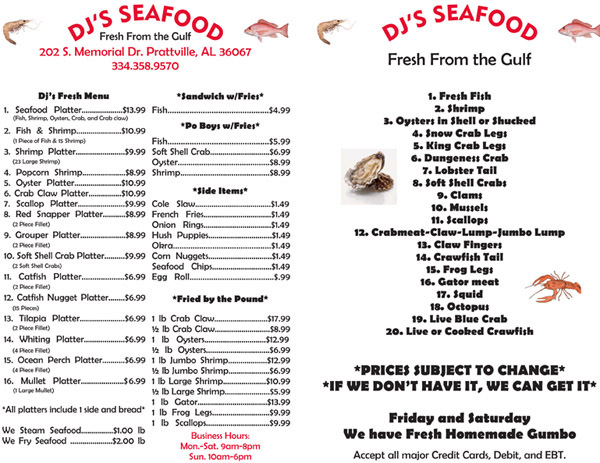 dj's seafood in prattville, al