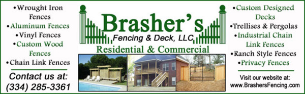 brasher's fencing and deck builder in millbrook, alabama