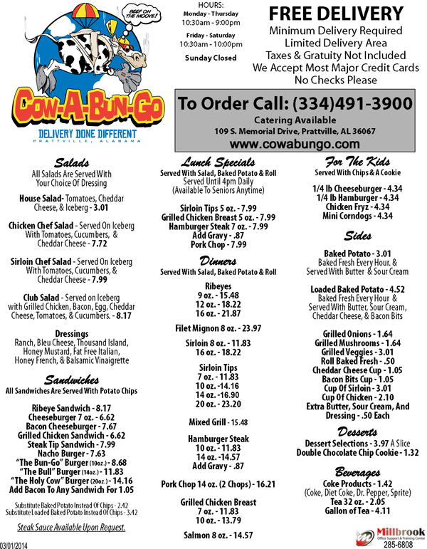 cowabungo delivery restaurant in prattville al
