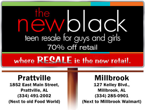 the new black teen resale shop in prattville and millbrook, al header ad