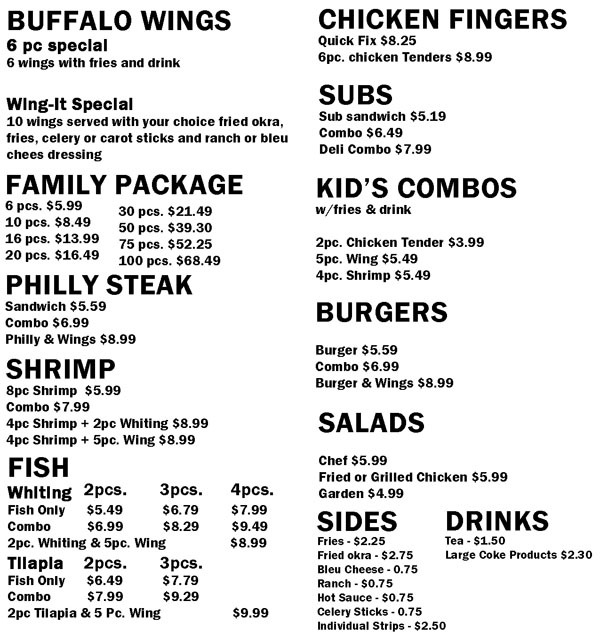 wing it restaurant menu for prattville and millbrook, alabama locations