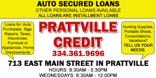 Prattville Credit Corp for small loans like auto loans, school loans, appliance loans and more in prattville, alabama picture