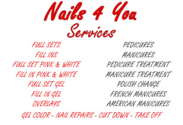 nails for you service list