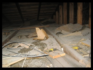 Attic being inspected in orange county